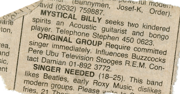 Singer Wanted...